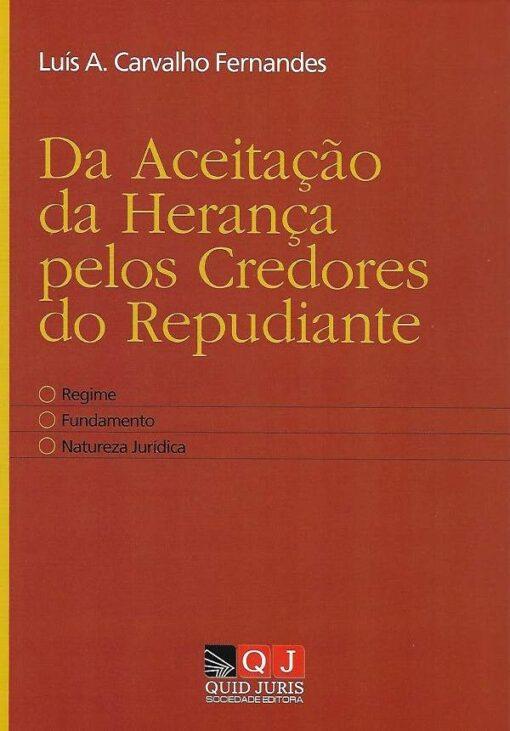 capa do livro da aceitação da herança pelos credores do repudiante