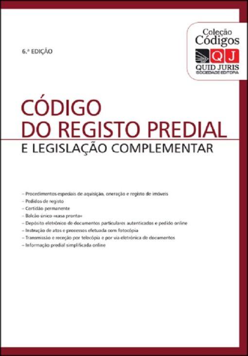 capa do livro Código do Registo Predial e legislação complementar 6ª