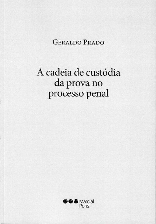 Capa do livro a cadeia de custódia da prova no processo penal