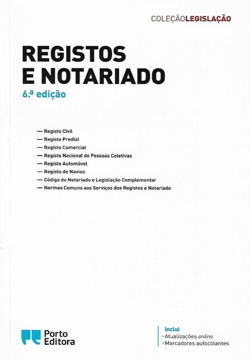 capa do livro registos e notariado