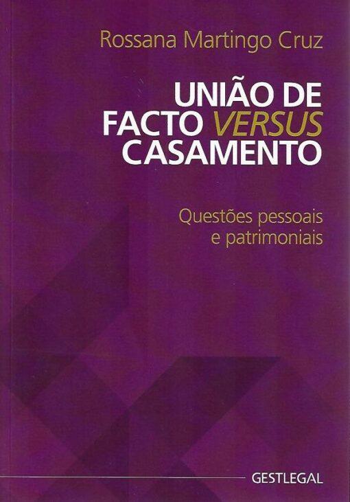 capa do livro união de facto versus casamento