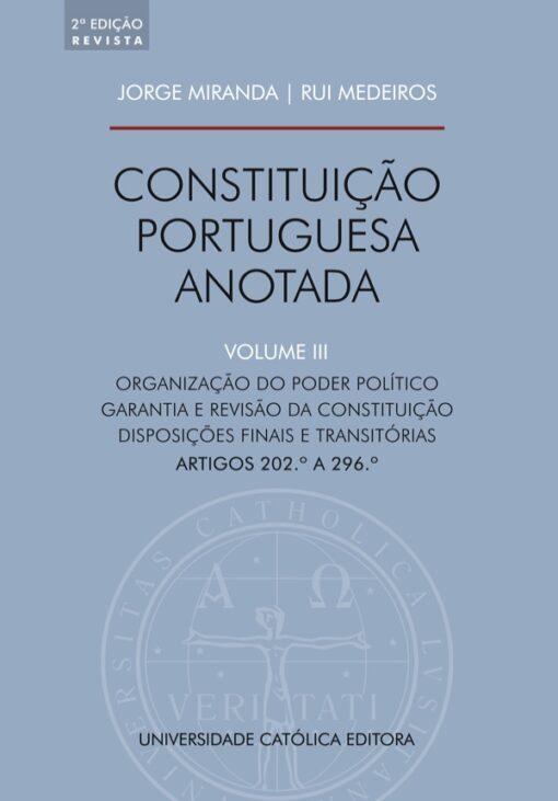 Capa do livro Constituição da Republica Portuguesa Anotada Vol III